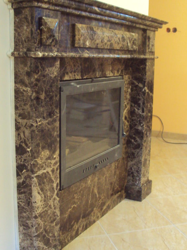 fireplaces made of marble Marron emperador
