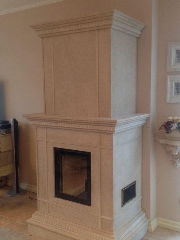 beautiful fireplace made of marble