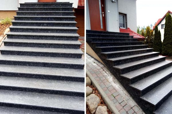 schody z szarego granitu