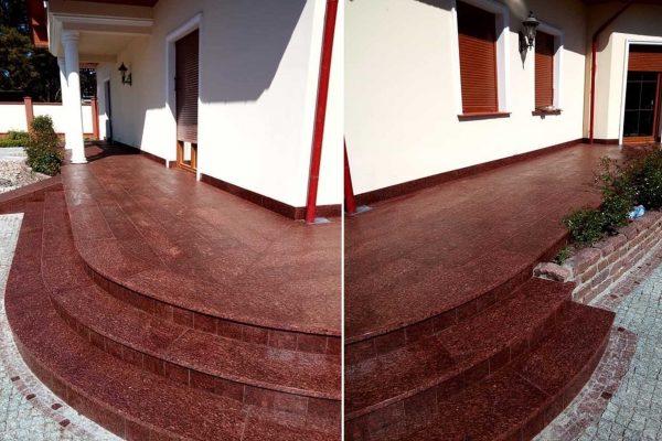 schody zewnętrzne z czerwonego granitu