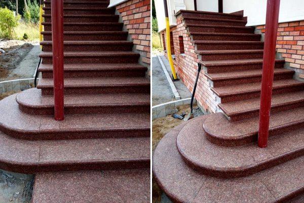 schody z bordowego kamienia
