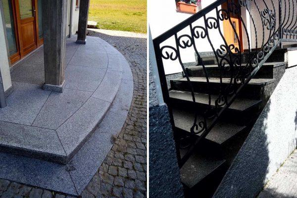 szare schody granitowe