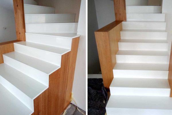 schody z białego konglomeratu