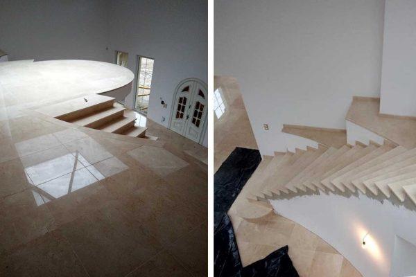 schody z kremowego marmuru