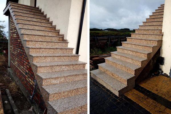 żółte schody z granitu